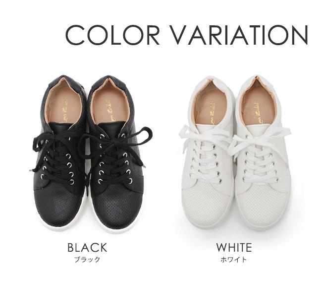 【公式】レディース靴の通販 shop kilakila(キラキラ)本店 パンチングレースアップスニーカー